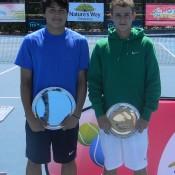 Champion Akira Santillan (L) and runner-up Oliver Anderson at the boys' trophy presentation of the 2012 Sydney ITF Junior International; Tennis Australia