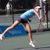 Ashleigh Capannolo in action at the Margaret River Pro Tour event; Tennis Australia