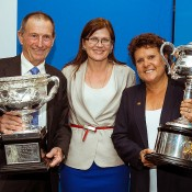 (L-R) Ashley Cooper, Senator Kate Lundy and Evonne Goolagong with the Australian Open trophies at Tennis on the Terrace in Canberra, at which a partnership between the Federal Government and Tennis Australia was announced; Mark Riedy