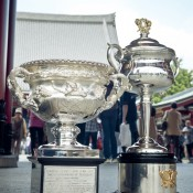 The Norman Brookes Challenge Cup (L) and Daphne Akhurst Memorial Cup in the Asakusa district in Taitō, Tokyo, as part of the AO Trophy Tour; Keith Tsuji