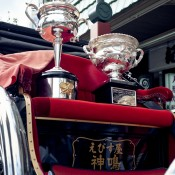 The Australian Open trophies sit in a rickshaw in the Asakusa district in Taitō, Tokyo, as part of the AO Trophy Tour; Keith Tsuji