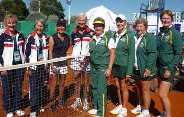 Australia's team (R) in the W70 Althea Gibson Cup division, which finished second at the 2012 Super Seniors World Team Championships; Tennis Australia