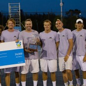 ATP Sydney (L-R) Adam Feeney, Nick Lindahl, Matt Barton, team manager Luke Bourgeois, Ryan Henry, Alex Trillini, Tyrone Smart, Mitchell Pritchard; Tennis NSW
