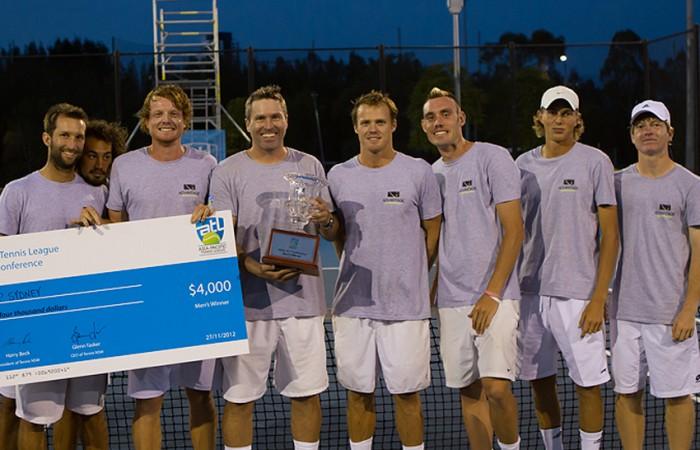 ATP Sydney (L-R) Adam Feeney, Nick Lindahl, Matt Barton, team manager Luke Bourgeois, Ryan Henry, Alex Trillini, Tyrone Smart, Mitchell Pritchard; Tennis NSW