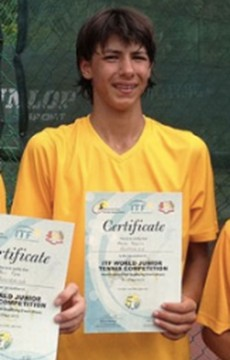 Alexei Popyrin representing Australia at the ITF World Junior Tennis competition in 2013