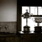 The Australian Open trophies at Sovereign Hill in Ballarat, Victoria; Mark Riedy