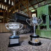 The Australian Open trophies visit the Yarrowee Soap & Candle Works at Sovereign Hill in Ballarat, Victoria as part of the Australian Open Trophy Tour; Mark Riedy