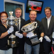 The Australian Open trophies visit the studios at Mix 106.3FM Canberra; Tennis Australia