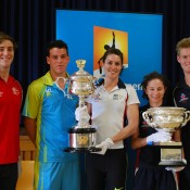 (L-R) Olympians Tommaso D'Orsogna, Lauren Boden and Beki Lee pose with Alex Bolt (second left) and Luke Saville (right) and the Australian Open trophies in Canberra; Tennis Australia