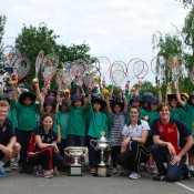 Kaleen Primary School students during the Australian Open Trophy Tour in Canberra with (front row L-R) Luke Saville, Beki Lee, Lauren Boden, Tommaso D'Orsogna and Alex Bolt; Tennis Australia