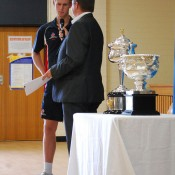 Tennis ACT CEO Ross Triffitt chats to Luke Saville during the Australian Open Trophy Tour in Canberra; Tennis Australia