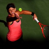 Pictured serving against Li Na, Dellacqua pushed the No.9 seed all the way during their second round match at the US Open before ultimately falling 6-4 6-4. Her performance in New York saw her return to the top 80 for the first time in three years; Getty Images