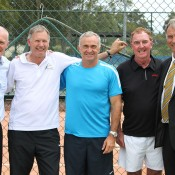 (L-R) John Fitzgerald, Chris Kachel, Wally Masur, Vince Barclay and John Alexander at the launch of the TA Clay Court Research Centre at Macquarie University; Tennis Australia