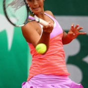 Priscilla Hon in action during the 2015 Roland Garros junior event; Getty Images
