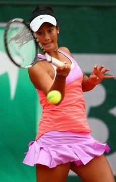 Priscilla Hon in action during the 2015 Roland Garros junior event; Getty Images