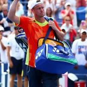 Lleyton Hewitt waves to the crowd after falling in four tough sets to No.4 seed David Ferrer in the third round of the 2012 US Open in New York; Getty Images