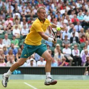 Back at Wimbledon after his first round loss to Jo-Wilfried Tsonga, Lleyton Hewitt rejoined the winners circle, progressing to the third round at the London 2012 Olympic tennis event where he eventually fell to Novak Djokovic in a thrilling three-setter on Centre Court; Getty Images