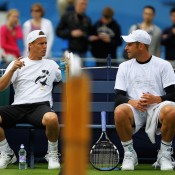 Veterans of the tour, Lleyton Hewitt and Andy Roddick talk during a practice session ahead of the AEGON Championships at Queens Club in London, England; Getty Images