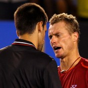 In the fourth round, Lleyton Hewitt fought hard but eventually succumbed to top seed Novak Djokovic in four sets at Australian Open 2012; Getty Images