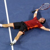 Lleyton Hewitt celebrates upsetting Milos Raonic of Canada in the third round of Australian Open 2012; Getty Images