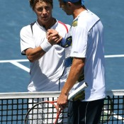 Ricardas Berankis of Lithuania (L) ended Matosevic's run in Los Angeles in the semifinals, surviving a tough first set before triumphing 7-5, 6-1; Getty Images