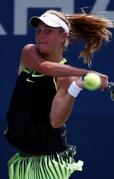 Ellen Perez in action in the first round of the 2016 US Open; Getty Images