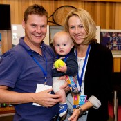 Alicia Molik (R) with husband Tim and baby Yannik, backstage at the new Perth Arena during its Open Day; Tennis Australia