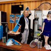Alicia Molik poses with Hopman Cup merchandise backstage at the Perth Arena Open Day; Tennis Australia