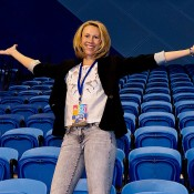 Former world No.8 Alicia Molik attended the Perth Arena Open Day, posing in the stands for photographers; Tennis Australia