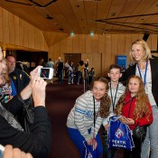 Alicia Molik poses with fans at the Perth Arena Open Day; Tennis Australia