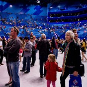 Fans explore the interior of the new Perth Arena on the stadium's Open Day; Tennis Australia