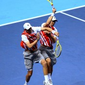 Statistically the greatest doubles pair in the history of the game, identical American twins Bob (L) and Mike Bryan of the United States have 12 Grand Slam doubles titles together, and have spent more weeks at No.1 (297) and won more doubles titles (82) than any other pair in history. They are currently the world No.1 and 2-ranked doubles players; Getty Images