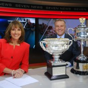 The Australian Open trophies drop in during the Seven News in Sydney with Chris Bath (L) and Jim Wilson; Tennis Australia