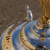 The reflection of Parliament House in Hobart can be seen on the Daphne Akhurst Memorial Trophy; Tennis Australia
