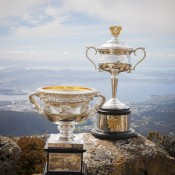 The Australian Open trophies atop Mount Wellington; Tennis Australia