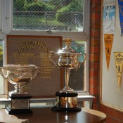 The Norman Brookes Challenge Cup (L) and the Daphne Akhurst Memorial Cup at the Trevallyn Tennis Club in Launceston, Tasmania; Tennis Australia