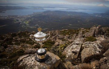 The Daphne Akhurst Memorial Cup atop Mount Wellington overlooking Hobart and the River Derwent as part of the Australian Open Trophy Tour of Tasmania; Tennis Australia