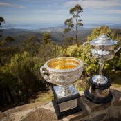 The Australian Open trophies atop Mount Wellington overlooking Hobart and the River Derwent; Tennis Australia