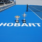 The Australian Open trophies at the Domain Tennis Centre, home of the annual Moorilla Hobart International; Tennis Australia
