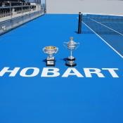 The Australian Open trophies at the Domain Tennis Centre, home of the annual Moorilla Hobart International; Tennis Australia