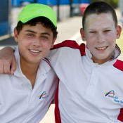 Teammates: Jean-Paul De Corso and Mislav Bosnjak during the Optus 14s Australian Teams Championships at Melbourne Park. XUE BAI