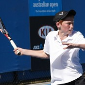 Macsen Sisam is exhibiting some promising talent for tennis and will surely reach the final rounds of the Optus 12s Championship.
