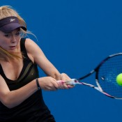 Danielle Mcintyre posed a solid resistance in her challenging first round match against Andjela Djokovic losing in a close 7-5 7-6(2) battle.