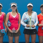 Optus 18s Australian Championships Girls' Doubles Finalists (l to r): Lizette Cabrera, Brooke Rischbieth, Priscilla Hon and Olivia Tjandramulia. EMILY MOGIC