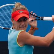 Monique Adamczak on her way to defeating Viktorija Rajicic in the quarterfinals of the Australian Open 2013 Play-off at Melbourne Park; Matt Johnson