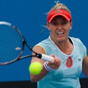 Monique Adamczak in action at the Australian Open 2013 Play-off at Melbourne Park; Matt Johnson