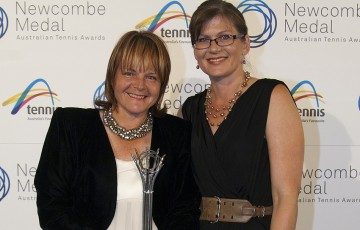 Anne Baldwin (L) poses with Senator Kate Lendy after winning the Volunteer Achievement Award at the 2012 Newcombe Medal Australian Tennis Awards; Tennis Australia