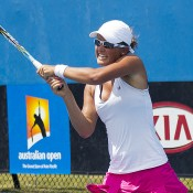 Arina Rodionova in action against Jess Moore in the quarterfinals of the Australian Open 2013 Play-off; Georgina Leeder