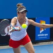 Bojana Bobusic in action against Ashleigh Barty in the quarterfinals of the Australian Open Play-off at Melbourne Park; Georgina Leeder