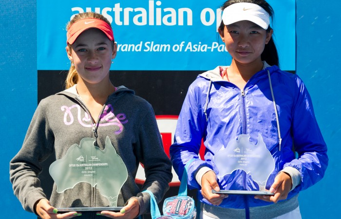 21 December, 2012. Daniela Kovacevic and Jeanette Lin at 2012 Optus 12s Australian Championships trophy ceremony, December Showdown. Xue Bai